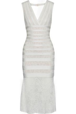 HERVÉ LÉGER Isabela lace-paneled bandage midi dress