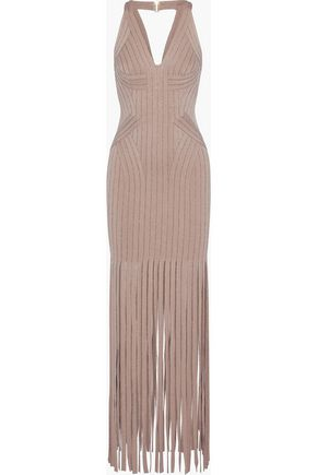 HERVÉ LÉGER Gweneth fringed metallic bandage maxi dress