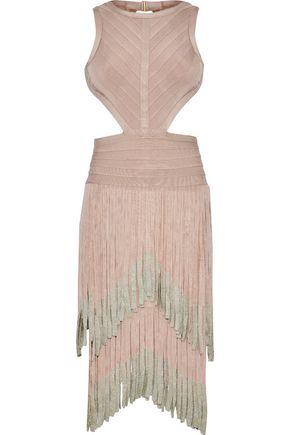 Fringed Metallic Bandage Dress - Blush H mJCqM