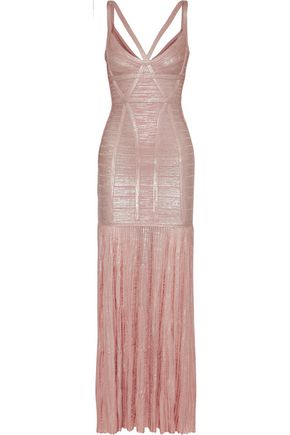 HERVÉ LÉGER Zhenya cutout pleated metallic bandage gown