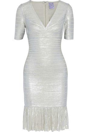 HERVÉ LÉGER Viviane pleated metallic bandage dress