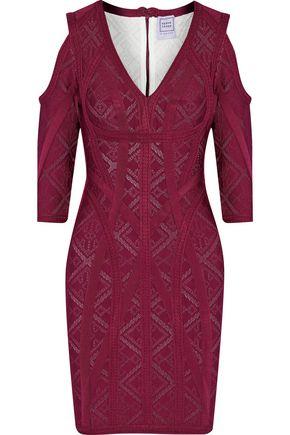 HERVÉ LÉGER Josephine cold-shoulder pointelle-knit bandage mini dress