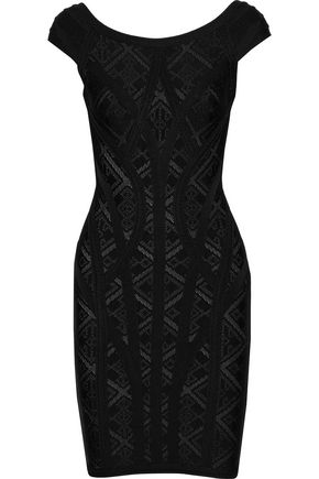 HERVÉ LÉGER Alisa pointelle-knit bandage mini dress