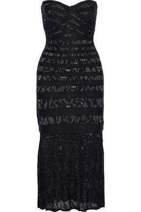 HERVÉ LÉGER Pailey crochet knit-paneled jacquard-knit bandage midi dress