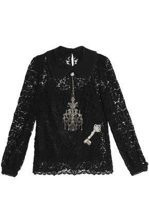 DOLCE & GABBANA Embellished cotton-blend lace top