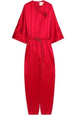 ROKSANDA Wrap-effect crinkled silk-satin crepe jumpsuit