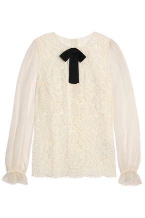 DOLCE & GABBANA Organza-paneled bow-embellished lace blouse