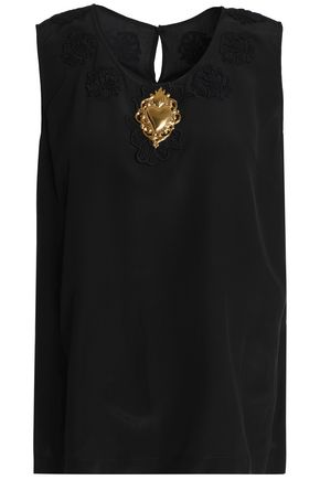 DOLCE & GABBANA Appliquéd silk top