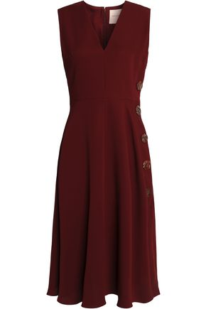 ROKSANDA Button-embellished silk-crepe dress
