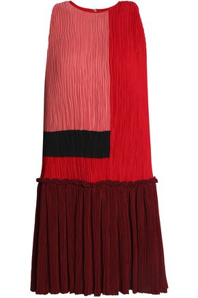 ROKSANDA Color-block plissé-crepe mini dress