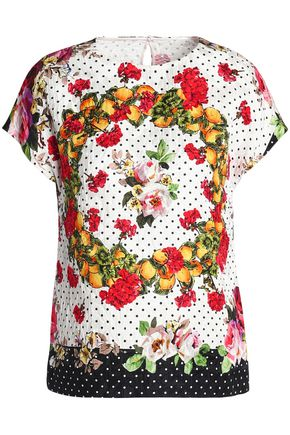 DOLCE & GABBANA Printed cotton-blend jacquard top