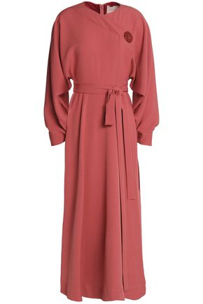 ROKSANDA Button-detailed crepe wrap midi dress