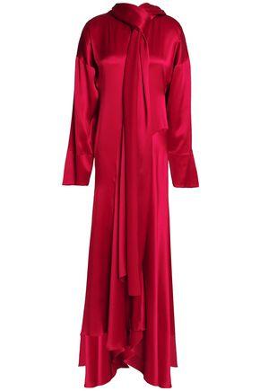 ROKSANDA Alida pussy-bow crinkled silk-satin maxi dress
