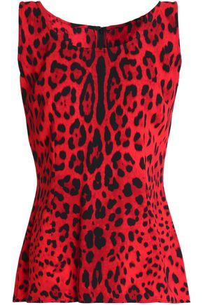DOLCE & GABBANA Leopard-print silk-blend top