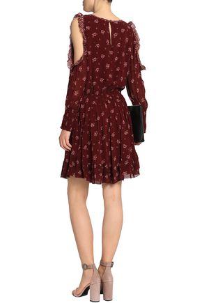 Femme Joie Arleth Froid Épaule Plissé Floral Imprimé Taille Bourgogne Robe De Soie En Mousseline De Soie M Joie Vlf1HpZbx
