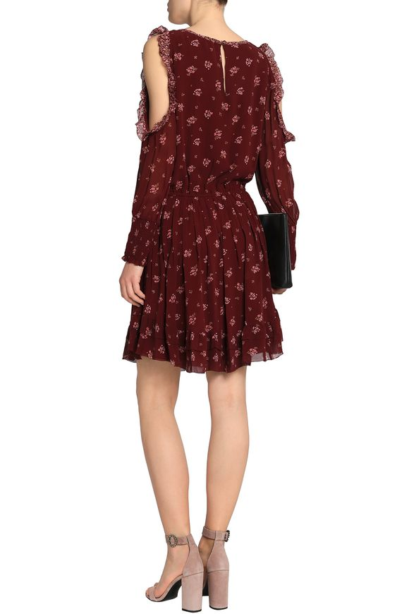 Joie Woman Arleth Cold-shoulder Pleated Floral-print Silk-chiffon Dress Burgundy Size S Joie Real For Sale Free Shipping Discount Free Shipping Latest Collections Buy Cheap Store Sale Discounts Pjtdn