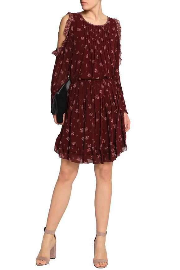 Joie Woman Arleth Cold-shoulder Pleated Floral-print Silk-chiffon Dress Burgundy Size S Joie CR3IGF