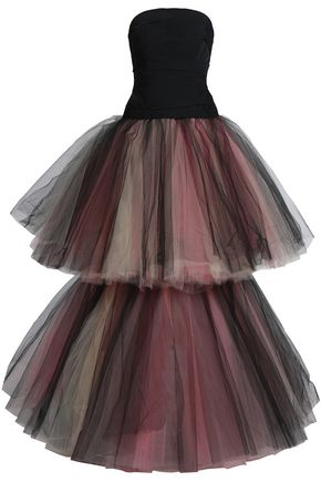 OSCAR DE LA RENTA Two-tone tiered duchesse-satin and tulle gown