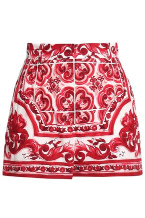 WOMAN PRINTED COTTON-BLEND POPLIN SHORTS RED