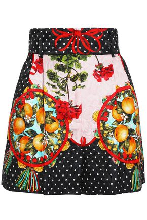 DOLCE & GABBANA Pleated printed cotton-blend jacquard shorts