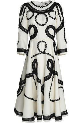 DOLCE & GABBANA Frayed braid-detailed silk-blend organza midi dress