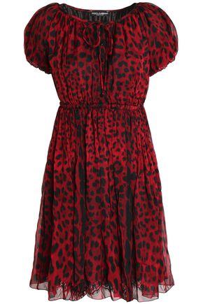 DOLCE & GABBANA Leopard-print silk-chiffon mini dress