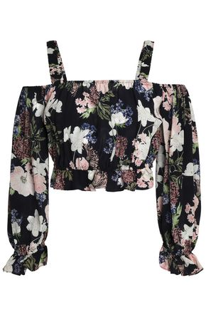 NICHOLAS Rosie cold-shoulder cropped floral-print silk top