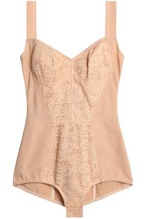 DOLCE & GABBANA Stretch lace-paneled bodysuit