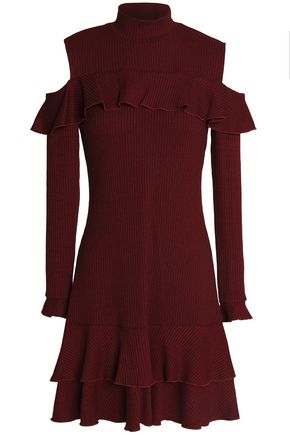 NICHOLAS Cold-shoulder ruffle-trimmed metallic ribbed-knit mini dress