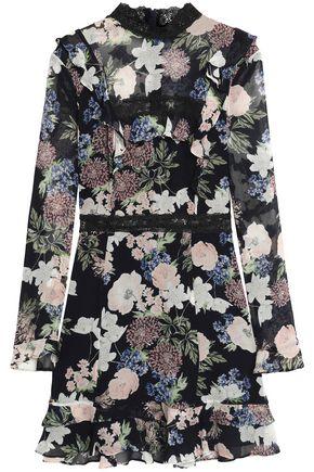 NICHOLAS Lace-trimmed floral-print silk-georgette mini dress