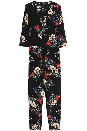 NICHOLAS Wrap-effect floral-print silk crepe de chine jumpsuit