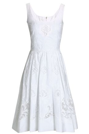 DOLCE & GABBANA Cutout embroidered cotton-blend dress