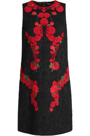 DOLCE & GABBANA Guipure lace-appliquéd cotton-blend jacquard mini dress