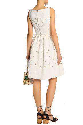 DOLCE & GABBANA Embroidered cotton-blend dress