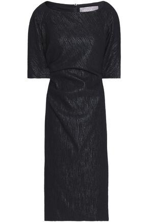 LELA ROSE Metallic cotton-blend dress