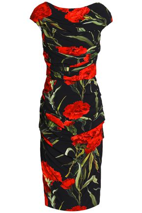 DOLCE & GABBANA Ruched floral-print crepe dress