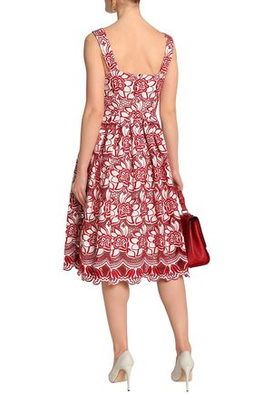 DOLCE & GABBANA Embroiderd cotton and silk-blend dress