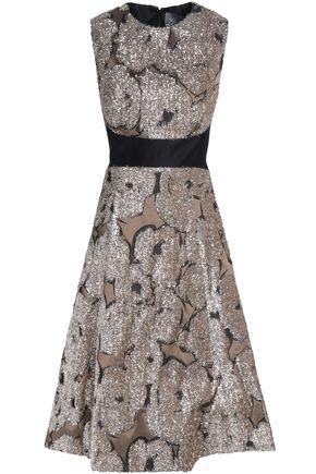 LELA ROSE Juliet tinsel-appliquéd taffeta dress