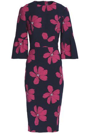 LELA ROSE Cotton-blend floral-jacquard dress