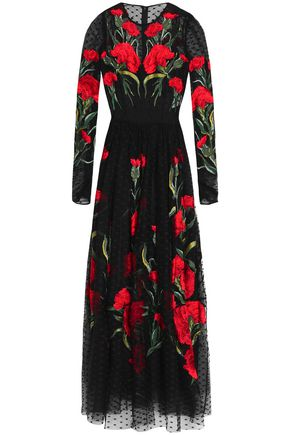 DOLCE & GABBANA Embroidered point d'esprit maxi dress