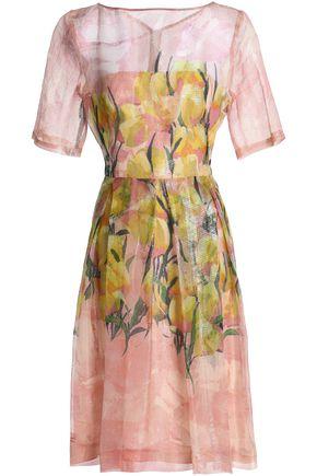 LELA ROSE Floral-print silk-blend gazar dress
