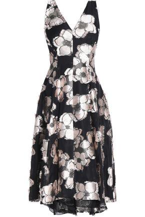 LELA ROSE Asymmetric pleated fil coupé dress