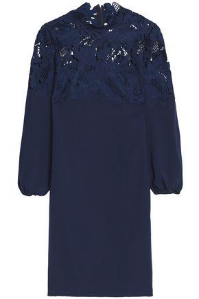LELA ROSE Corded lace-paneled crepe de chine mini dress