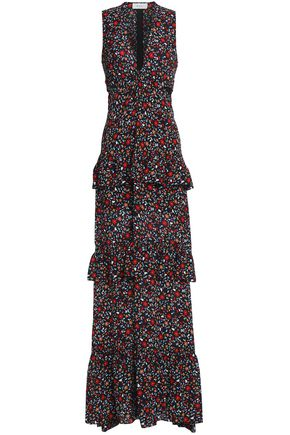 A.L.C. Tiered cutout floral-print silk maxi dress
