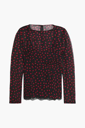 DOLCE & GABBANA Lace-trimmed polka-dot stretch-silk top