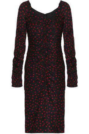 DOLCE & GABBANA Ruched polka-dot stretch-silk dress
