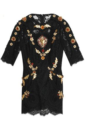 DOLCE & GABBANA Embellished lace mini dress