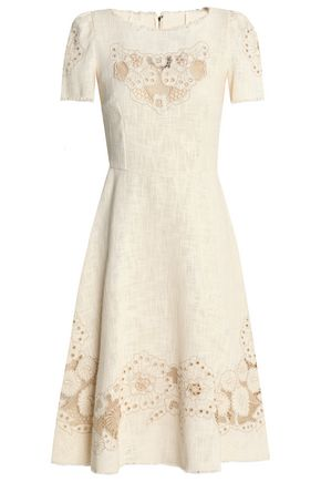 DOLCE & GABBANA Embroidered cotton-blend gauze dress
