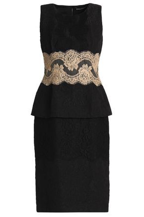 DOLCE & GABBANA Lace-trimmed jacquard peplum dress