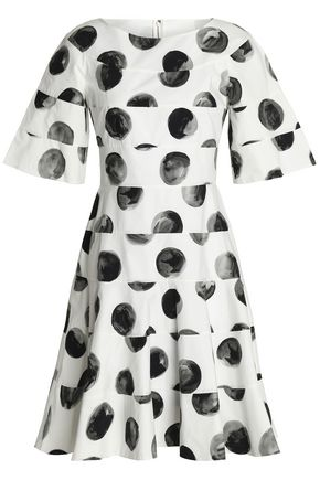 DOLCE & GABBANA Flared paneled polka-dot cotton-poplin dress